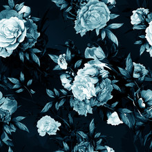 Seamless Background Floral Pattern. Rose With Leaves And Bullfinch On Dark Blue. Hand Drawn, Vector - Stock.