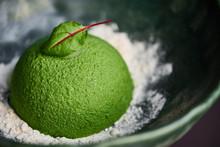 Dessert In The Form Of A Hemisphere. Gourmet Dish. Modern Nordic Cuisine.