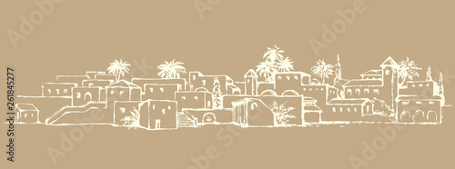 Photographie City in a desert. Vector drawing