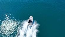Aerial Top View Of Speed Boat ...
