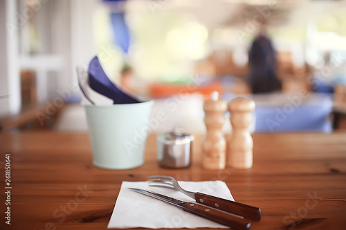 serving cutlery in a restaurant