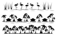 Tropics. Palm Tree, Bungalow A...