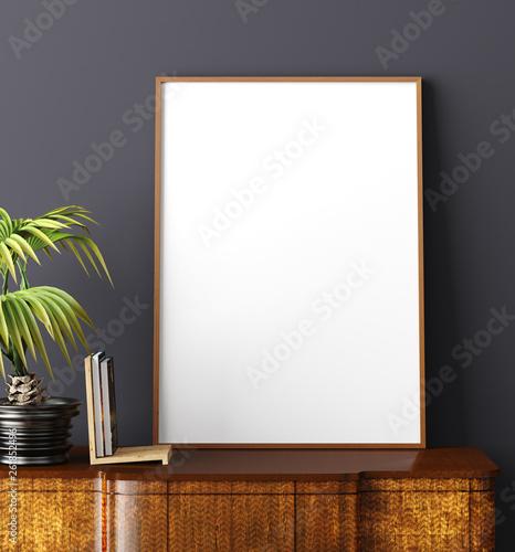 Obraz Mock up poster frame in home interior background, Scandinavian style, 3D render - fototapety do salonu