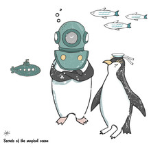 Penguins Ice Floe Vector Celeb...