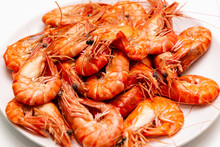 A Plate Of Boiled King Prawns ...