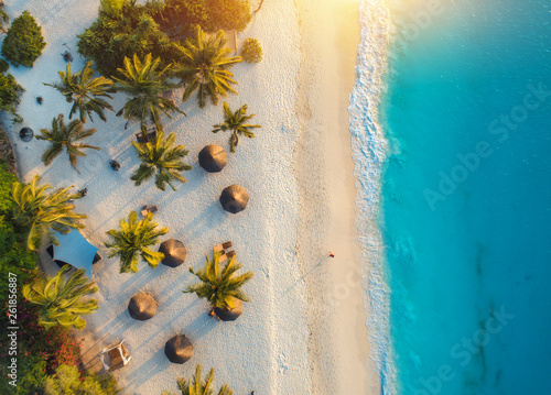 Fototapeta Aerial view of umbrellas, palms on the sandy beach of Indian Ocean at sunset. Summer holiday in Zanzibar, Africa. Tropical landscape with palm trees, parasols, white sand, blue water, waves. Top view obraz na płótnie
