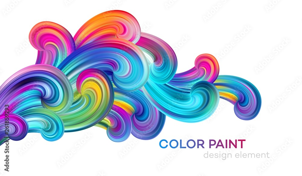Fototapeta Modern colorful flow poster. Wave Liquid shape color paint. Art design for your design project. Vector illustration