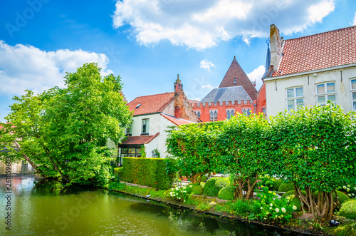 Fototapety, obrazy: Beautiful canal and traditional houses in the old town of Bruges (Brugge), Belgium
