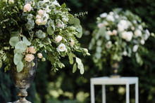 Big And Beautiful Bouquet Of Blossom Flowers From A Variety Of Greenery And White Roses. Outdoors. Bokeh, Defocus
