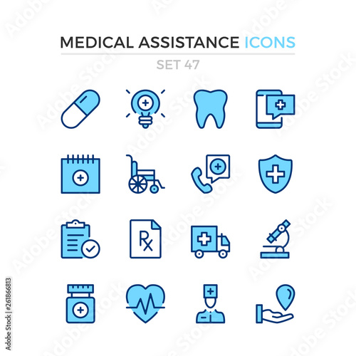 Medical assistance icons Canvas Print