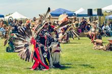 Native American Male Dancers At Pow-Wow In Malibu, California