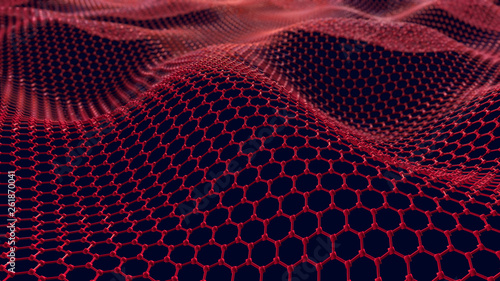 Türaufkleber Kastanienbraun Abstract network connection. Structure big data. Digital background. Glossy metal hexagonal grid with waves. 3d render