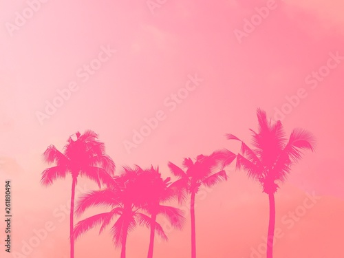 Foto op Aluminium Candy roze Palm tree silhouette pink pastel sky with copy space summer concept