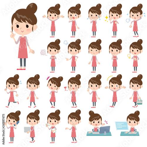 Photo Ballet Bun hair Apron mom_emotion/同じシリーズはtoyotoyoポートフォリオ内から「親しみ デフォルメ」と検索してください