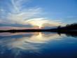 reflection of sunset on lake