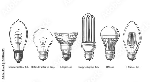 Photo Black lightbulbs sketch