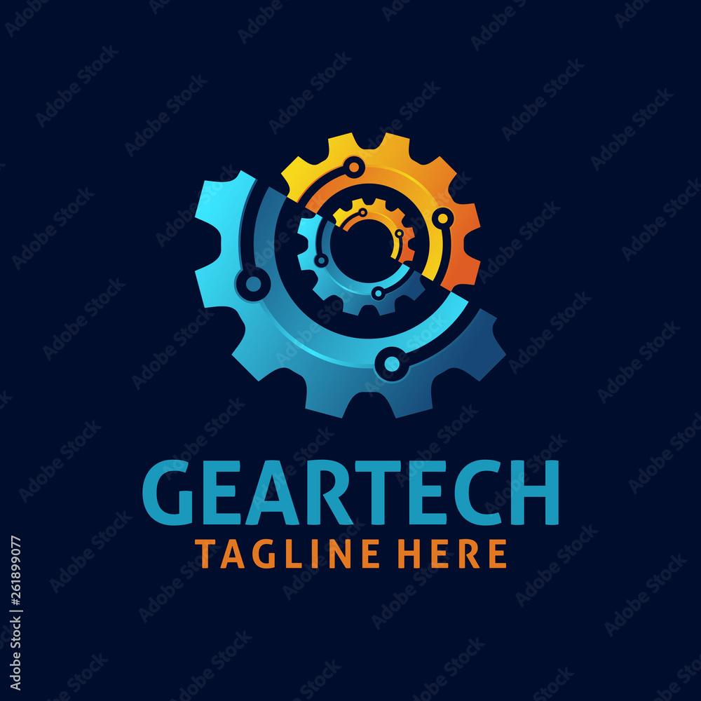 Obraz Gear tech logo design fototapeta, plakat