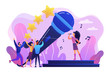 Famous pop singer near huge microphone singing and tiny people dancing at concert. Popular music, pop music industry, top chart artist concept. Bright vibrant violet vector isolated illustration