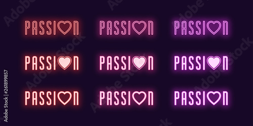 Neon icon set of Passion word. Vector glowing art