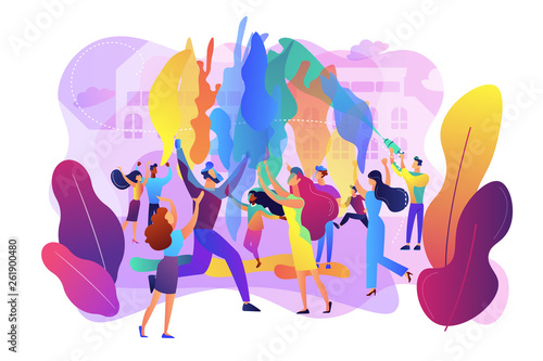 Tiny people enjoying traditional holiday of colors celebration Poster Mural XXL
