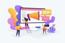 Social Media, News Tips, IoT And Smart City Concept. Vector Isolated Concept Illustration With Tiny People And Floral Elements. Hero Image For Website.