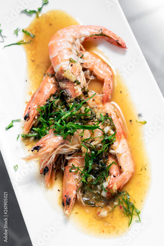 Fotografie, Obraz  asian prawns sauteed in spicy garlic chilli and turmeric sauce
