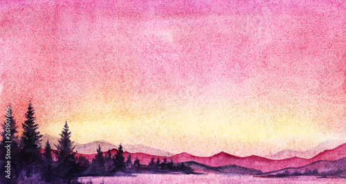 Photo Stands Candy pink Evening landscape with forest lake, firs, mountains. Gradient sky from bright pink to yellow. On the horizon sunset. Bright stars. Hand-drawn watercolor illustration with post digital painting.