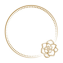 Vector Floral Vintage Frame With A Succulent Pland Decoration On A White Background.