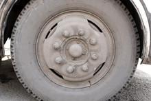 Dirty Wheel Of The Bus Wheel Hub Bearing In The Daylight