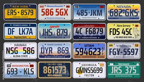 Pinturas sobre lienzo  Car registration numbers and license plates in USA