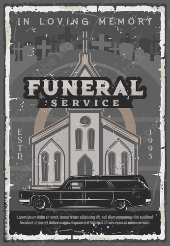 Funeral ceremony church, hearse car and tombstone Canvas Print