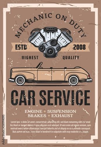 Plakaty motory   zabytkowy-samochod-z-czesciami-silnika-serwis-naprawy-samochodow
