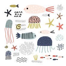 Cute Vector Set Of Children's Drawings - Fish And Other Marine Life. Doodle Style. Ideal For Childs Decoration. Marine Set.