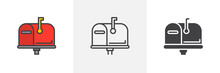 Mailbox Closed, Flag Up Icon. Line, Glyph And Filled Outline Colorful Version, Post Box Outline And Filled Vector Sign. Symbol, Logo Illustration. Different Style Icons Set. Vector Graphics