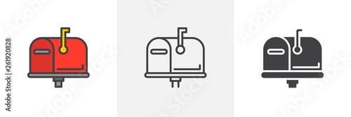 Fotografía Mailbox closed, flag up icon