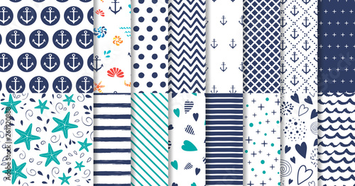 Fototapeten Künstlich Set of marine and nautical backgrounds in navy blue and white colors Vector