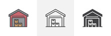 Warehouse Storage Icon. Line, Glyph And Filled Outline Colorful Version, Warehouse With Boxes Outline And Filled Vector Sign. Symbol, Logo Illustration. Different Style Icons Set. Vector Graphics