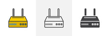 Internet Router Icon. Line, Glyph And Filled Outline Colorful Version, Wi-Fi Modem Outline And Filled Vector Sign. Symbol, Logo Illustration. Different Style Icons Set. Vector Graphics
