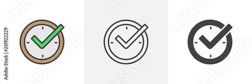 Obraz Check mark on clock icon. Line, glyph and filled outline colorful version, real time protection outline and filled vector sign. Symbol, logo illustration. Different style icons set. Vector graphics - fototapety do salonu
