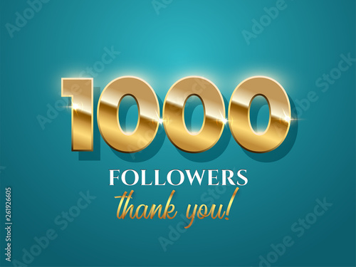 1000 followers celebration vector banner with text on azure background Fototapet