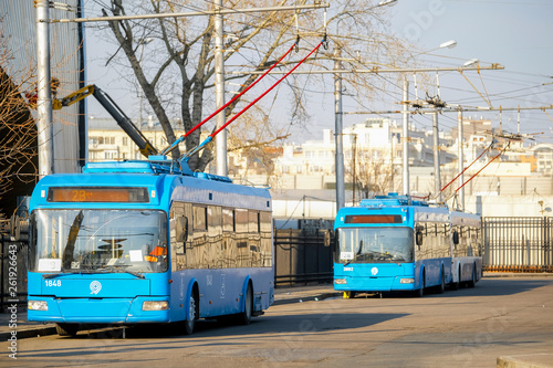 Fotografia, Obraz  Moscow, Russia - April, 12, 2019: trolleybuses on a parking in Moscow, Russia