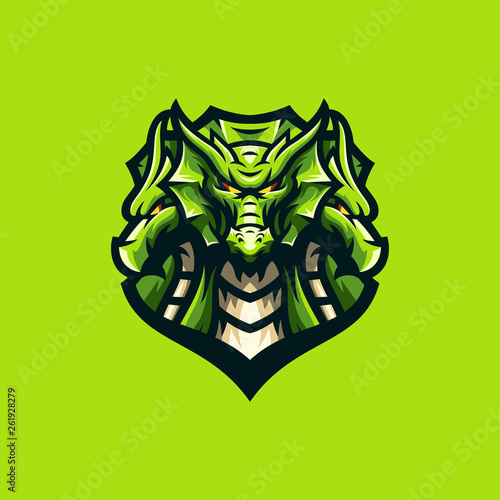 Fotografie, Obraz  awesome dragon logo sport template