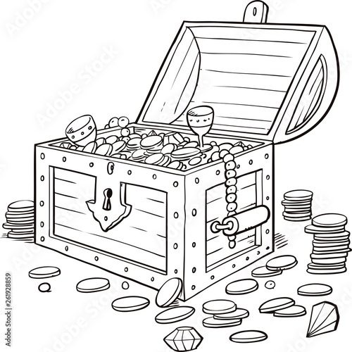 Opened wooden chest with treasures Fototapete
