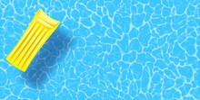 Swimming Pool Top View Background. Rubber Raft Floating On Water. Colorful Vector Poster Template For Summer Holiday. Hello Summer Web Banner. Vector Illustration In Flat Style