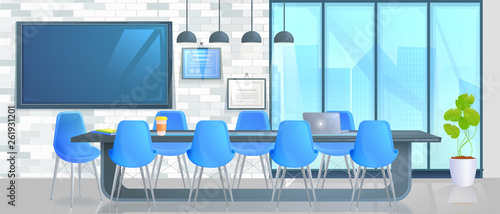 Boardroom Interior Design Home Decor Panorama Banner Office Conference Hall With Long Table With Modern Chairs And Full Hd Tv And Loft Block Wall Vector Catroon Illustration Buy This Stock Vector
