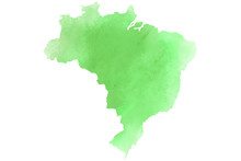 Colorful Watercolor Brazil Map On Canvas Background. Digital Painting.