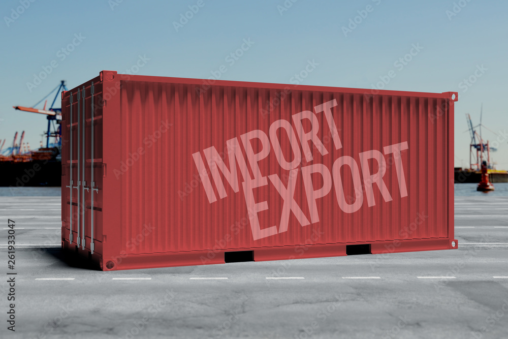 Fototapety, obrazy: Mock up of a container on a dock - 3d rendering