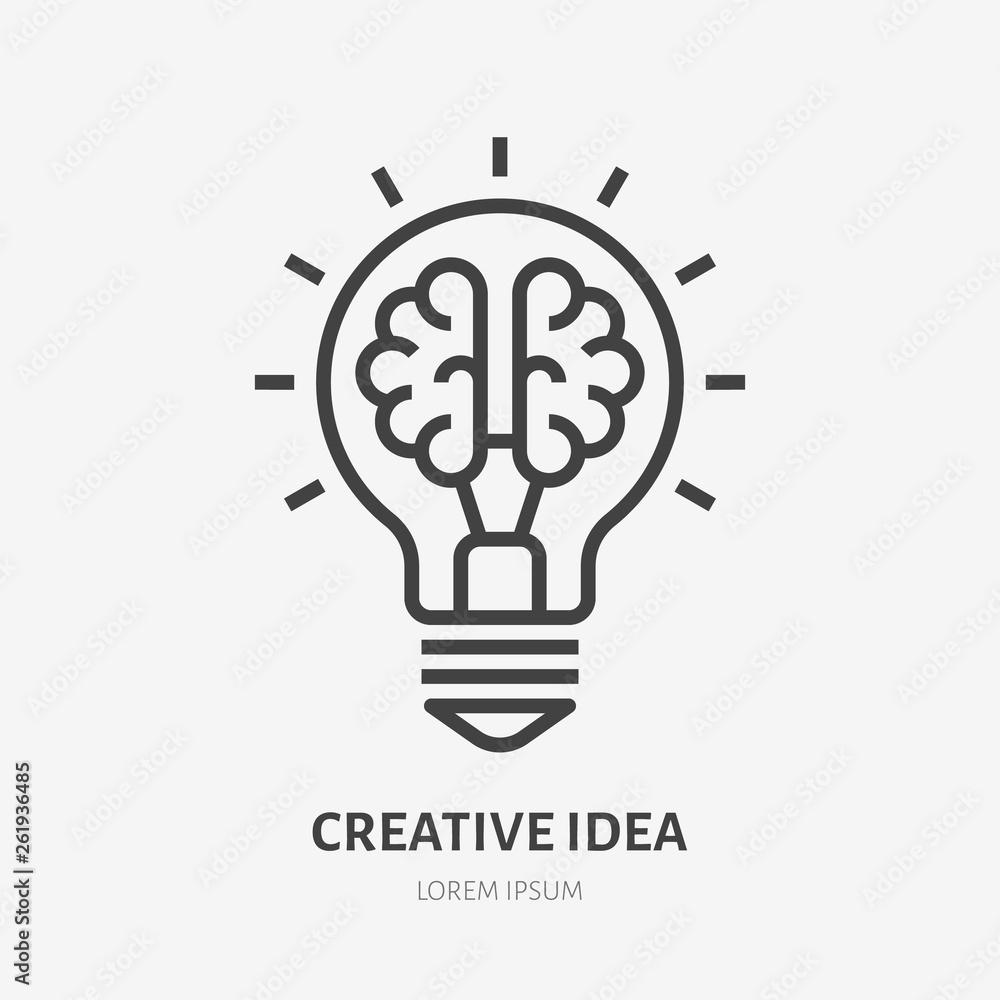 Fototapeta Creative idea flat line icon. Brain in lightbulb vector illustration. Thin sign of innovation, solution, education logo