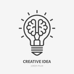 Ikona płaska linia ciekawy pomysł. Mózg w ilustracji wektorowych żarówka. Cienki znak innowacji, rozwiązania, logo edukacji