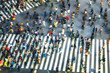 canvas print picture - Busy Shibuya Pedestrian Crossing From Above